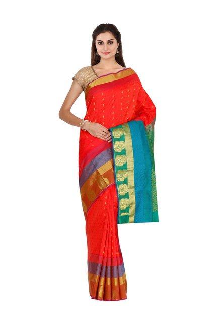 8cae1a3785 Buy The Chennai Silks Red Woven Kanjivaram Saree With Blouse for Women  Online @ Tata CLiQ