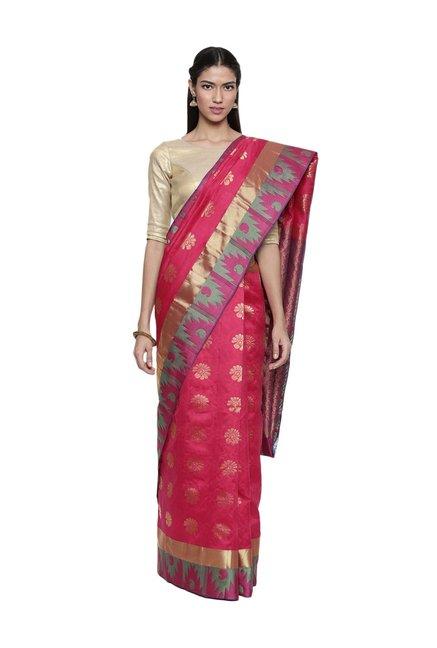 f49e7ef5e9 Buy The Chennai Silks Pink Woven Kanjivaram Saree With Blouse for Women  Online @ Tata CLiQ