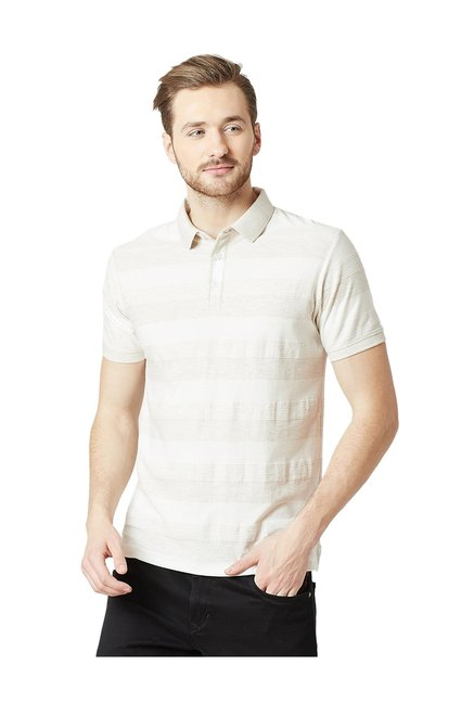 80fd96d2 Buy Octave White Striped Cotton Polo T-Shirt for Men Online @ Tata CLiQ