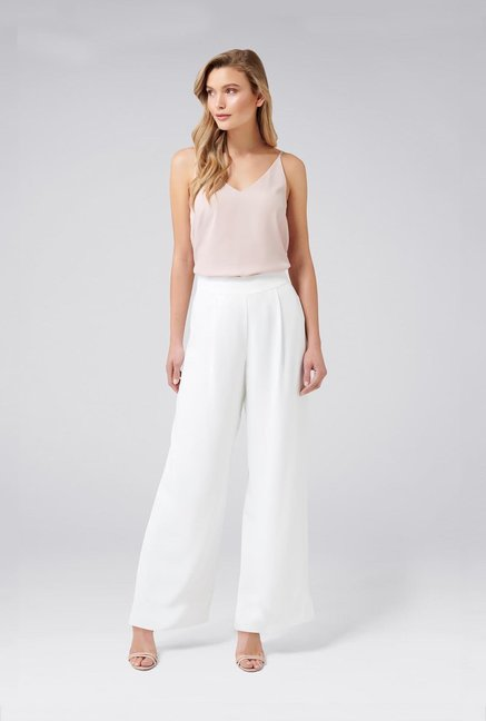 d6abc10cc Buy Forever New White Pleated Trousers for Women Online @ Tata CLiQ
