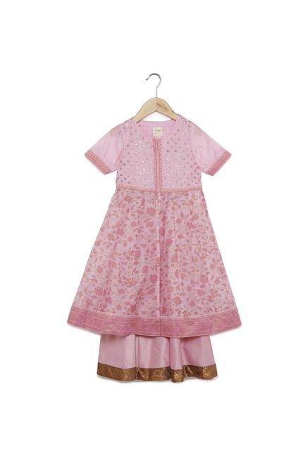 b885db000cc Buy Utsa Kids by Westside Pink Fit-And-Flare Kurta And Ghagra for Girls  Clothing Online   Tata CLiQ