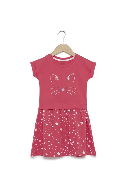 20ca6b22e4e Buy Zudio Kids Coral Star Printed Fit-And-Flare Dress for Girls ...