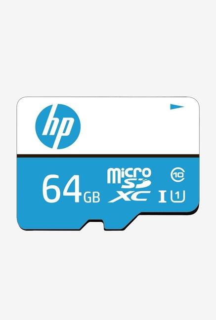 HP MSDCWAU1 64  GB Class 10 MicroSD Memory Card with Adapter  Blue