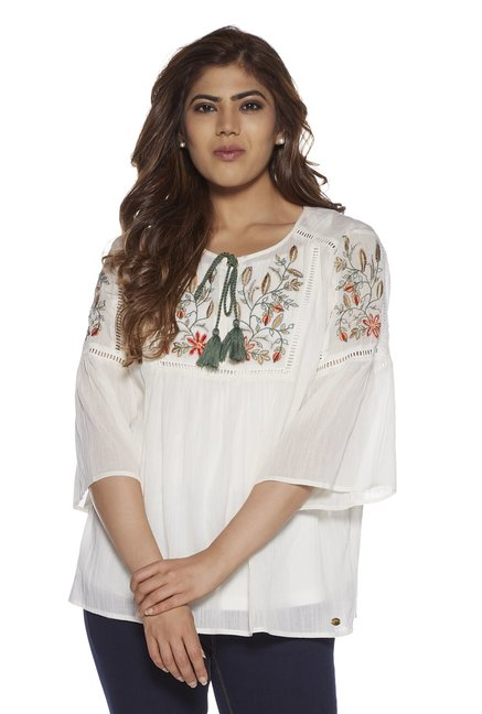 cb154353f4a7fa Buy Gia curve by Westside Off White Clarry Top With Inner for Women Online  @ Tata CLiQ