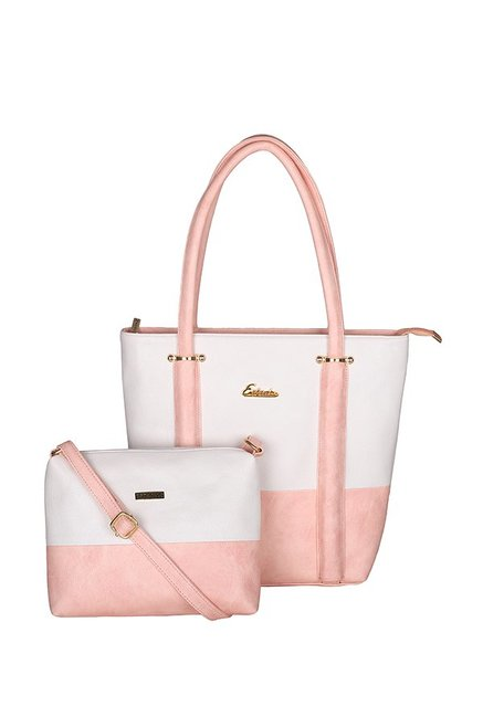 00c9e58ee30 Buy Esbeda Pink & White Color Block Tote Handbag with Sling For ...