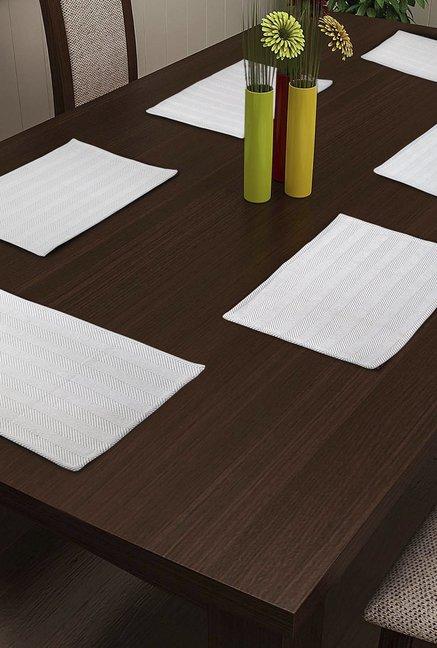 NEUDIS White Chevron Cotton Table Mat   Set of 6