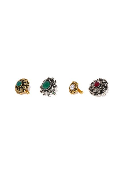 Zaveri Pearls Multicolor Alloy Nose Clip   Set of 4