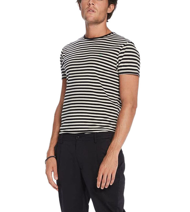 1bf79a16be93 Buy Scotch & Soda Black Classic Crew Neck Jersey Striped T-Shirt for ...