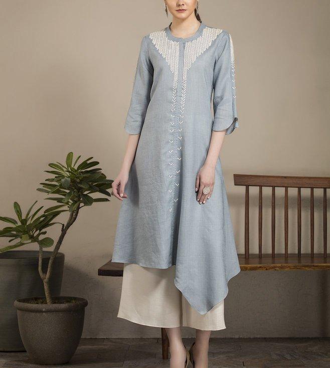 AM:PM Greyish Blue & White Linen Tunic Set