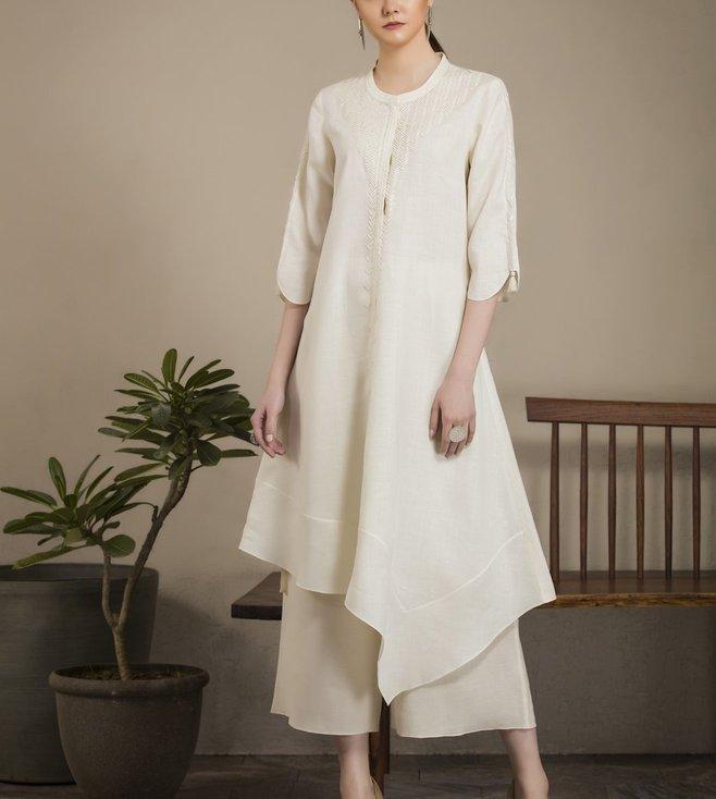 AM:PM Ivory & White Linen Tunic Set