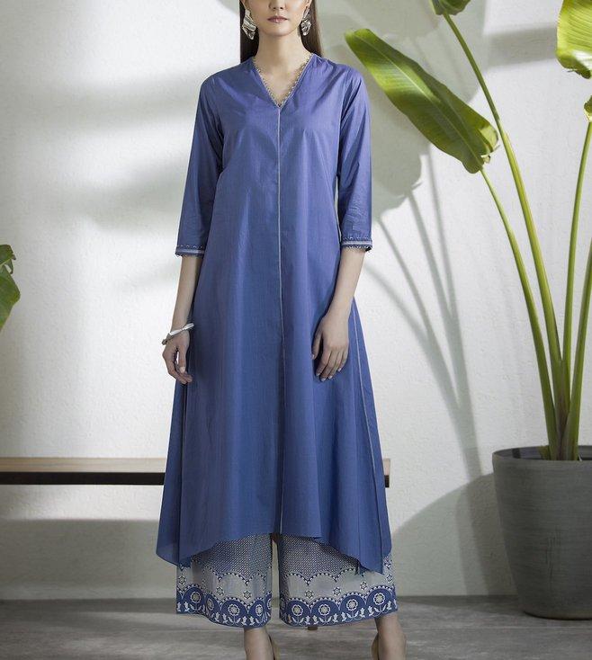 AM:PM Berry Blue & Grey Lawn Cotton Tunic Set
