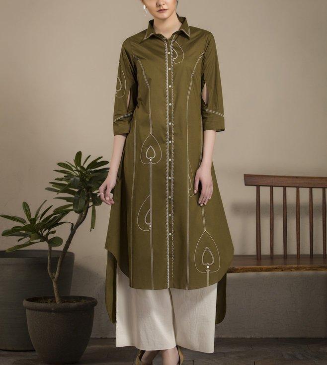 AM:PM Olive & White Lawn Cotton Tunic Set