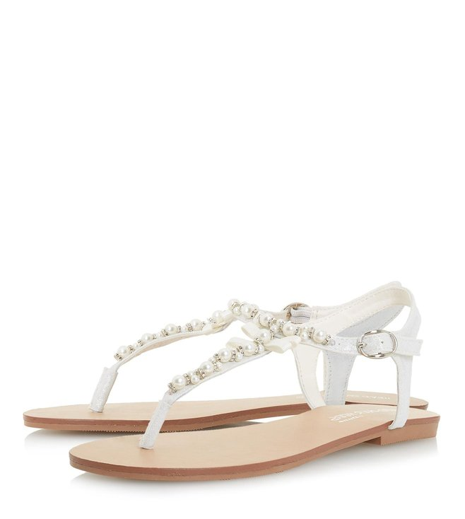 4aa03c8a72f Buy Dune London White Lucii Pearl T Bar Sandals for Women Online ...