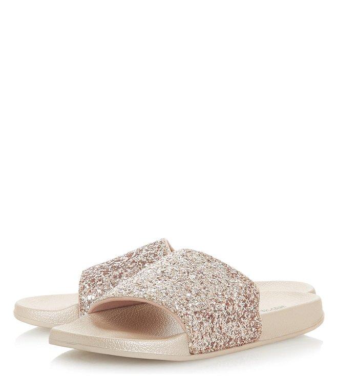3a4612e94225 Buy Dune London Rose Gold Leelo Glitter Strap Pool Slides for Women ...