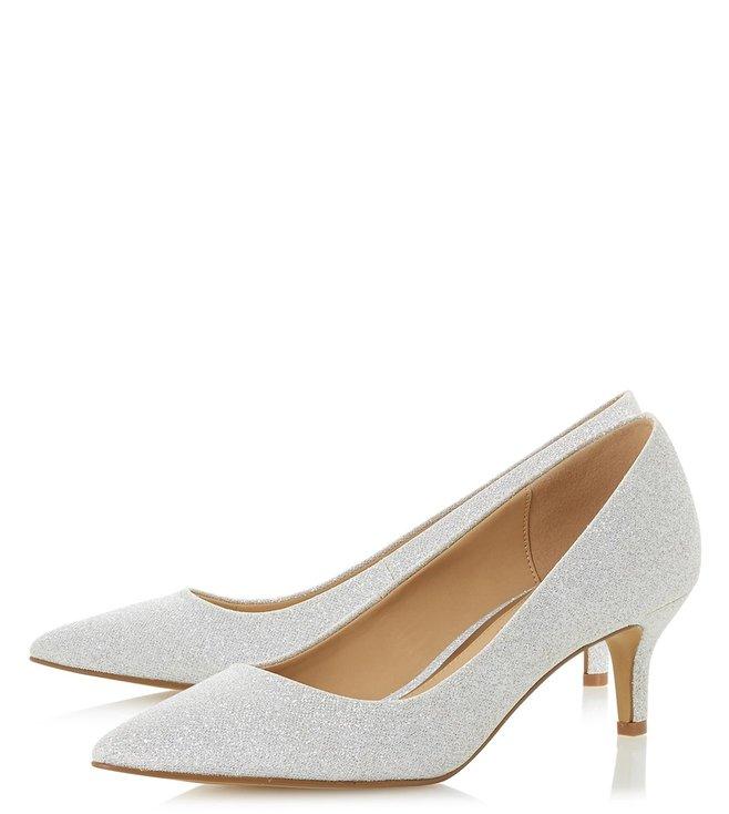 Silver Annabel Low Kitten Heel