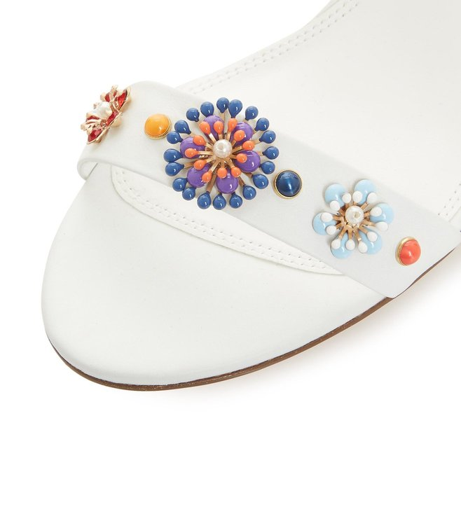 e509be682a5 Buy Dune London White Moonflower Flower Embellished Sandals for ...