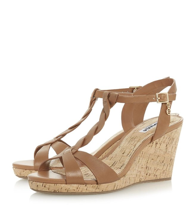 Dune London Tan Koala Plait T Bar Wedges