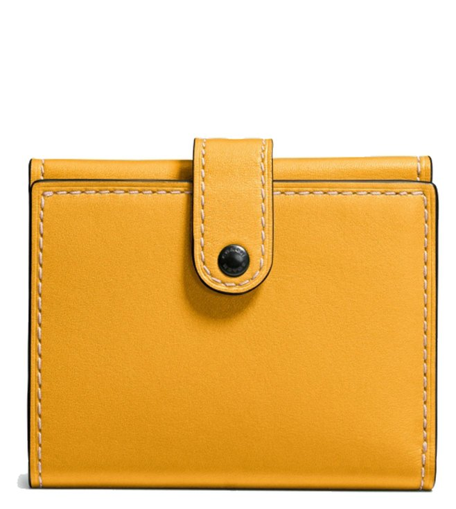 72f5f63a872a Buy Coach Yellow Small Trifold Glovetanned Leather Wallet for Women ...