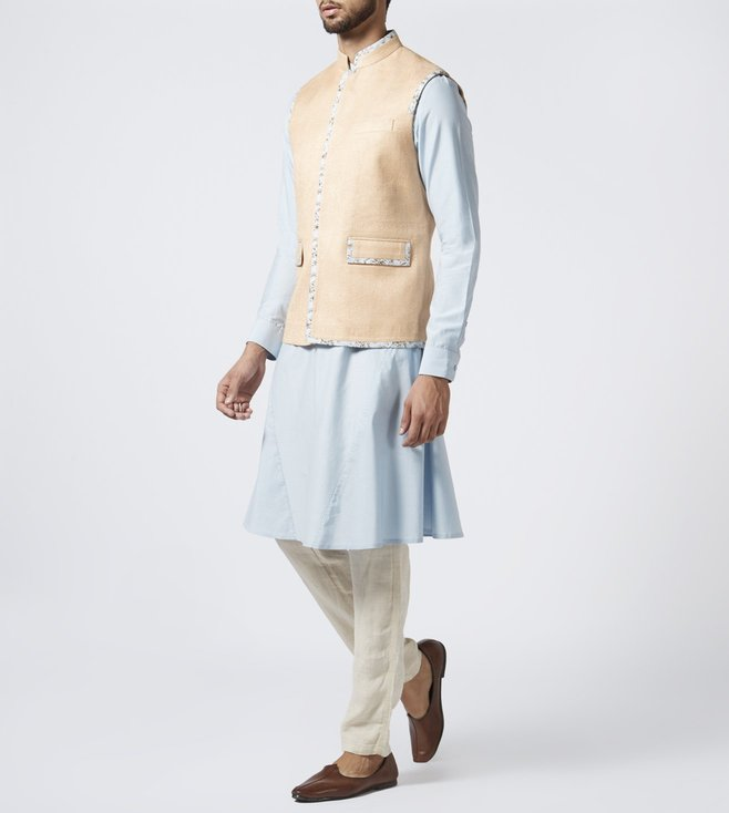 Khanijo Peach & Powder Blue Textured Kurta Set