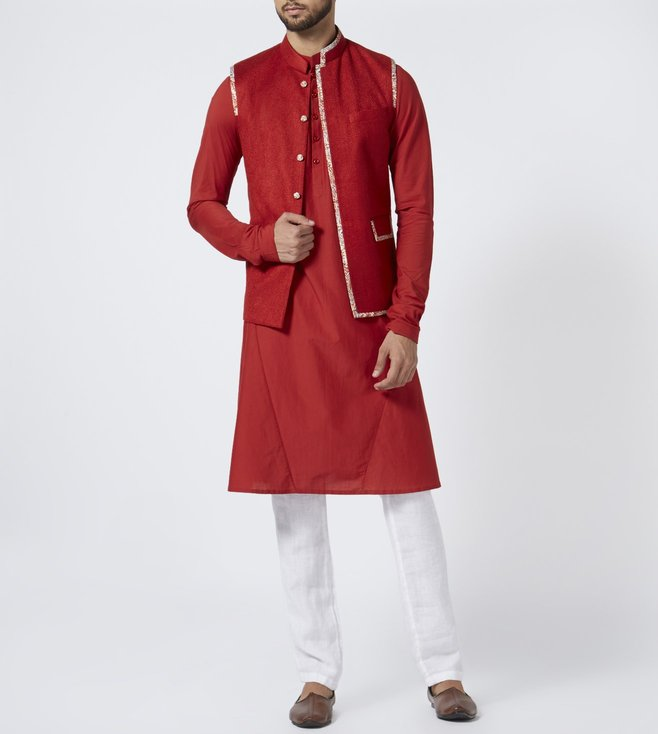 Khanijo Red Textured Kurta Set