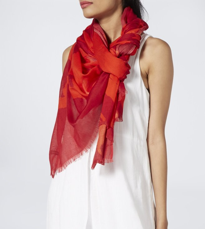 Meesha Red & Orange Modal Silk Printed Scarf