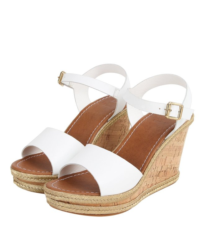 Dune London White Karamel Di Ankle Strap Wedges