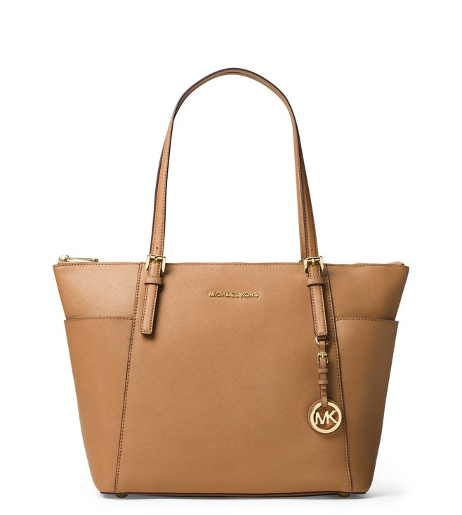 bbdb9c49e1150f Added to Bag. MICHAEL Michael Kors Acorn Jet Set Saffiano Leather Large Tote