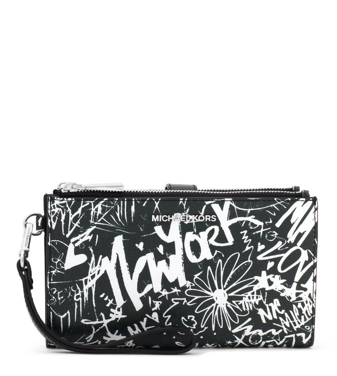 cf7b4132bb Buy MICHAEL Michael Kors Black Adele Graffiti Leather Wristlet for ...