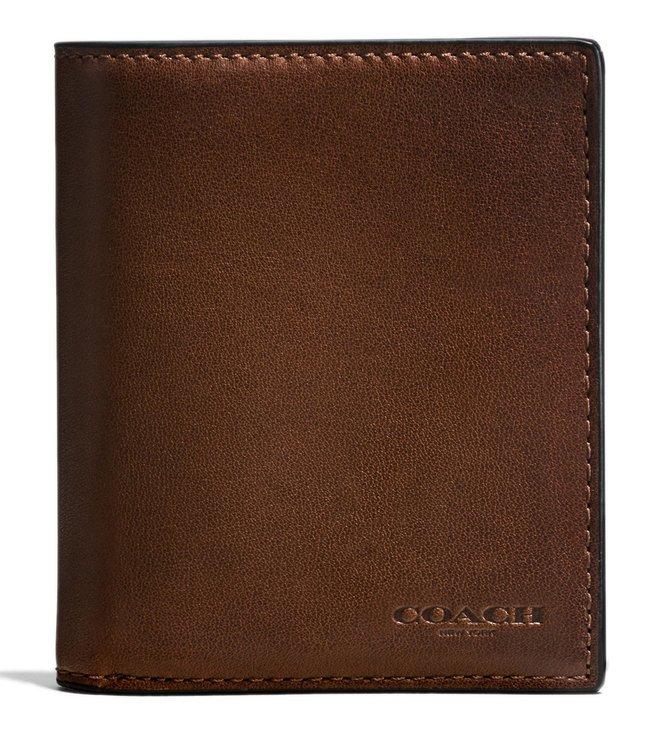 90851b9ecc Buy Coach Dark Saddle Slim Coin Leather Wallet for Men Online @ Tata ...