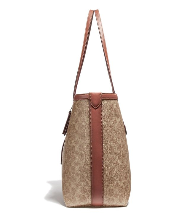 76b9564c Buy Coach Tan & Rust Coated Canvas Signature Market Tote for Women ...