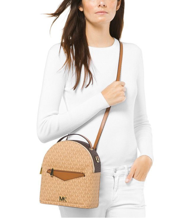 8937798a0507 MICHAEL Michael Kors Logo Brown   Acorn Jessa Small Convertible Backpack