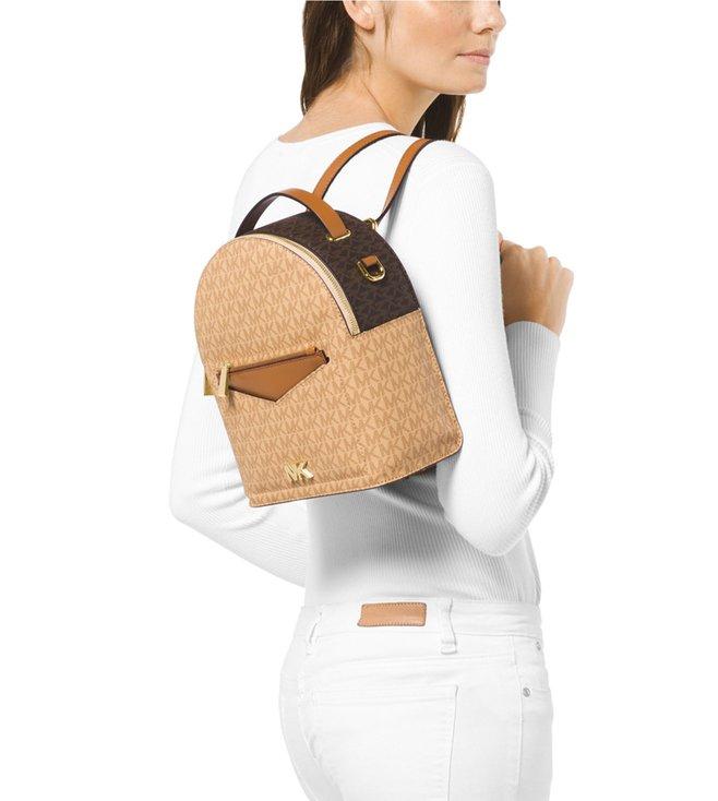 d29be638204b MICHAEL Michael Kors Logo Brown & Acorn Jessa Small Convertible Backpack
