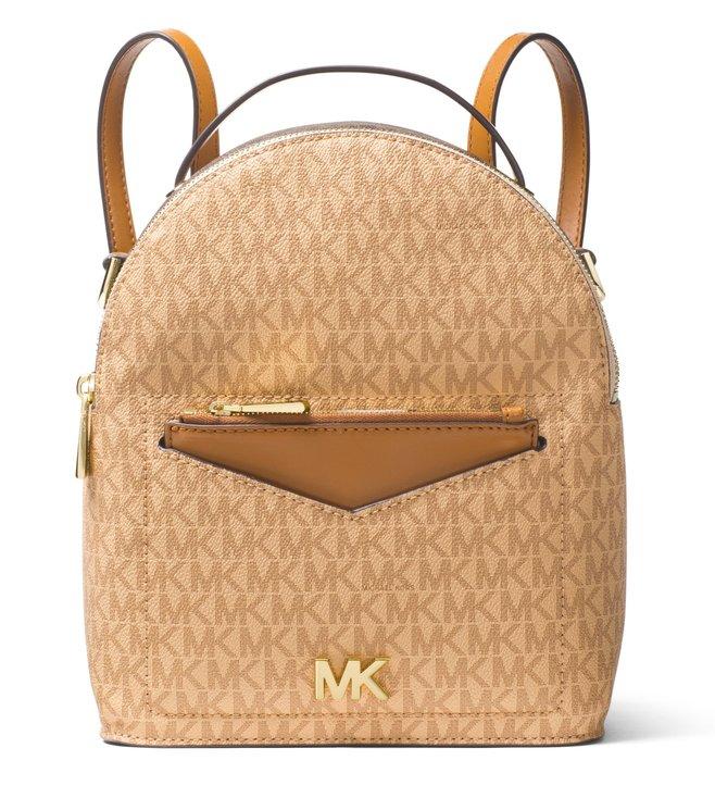 090185b50a06 Michael Kors. MICHAEL Michael Kors Logo Brown & Acorn Jessa Small  Convertible Backpack ...