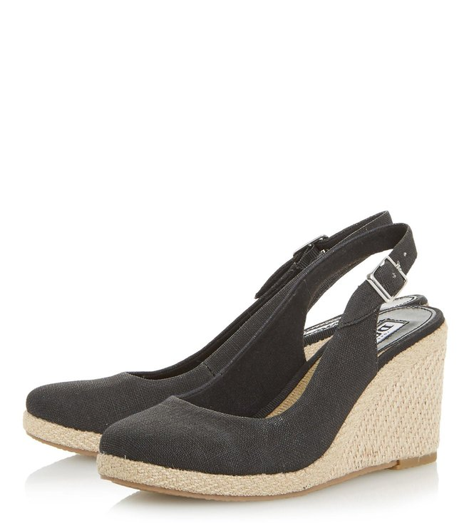 Dune London Black Kanvas Back Strap Wedges
