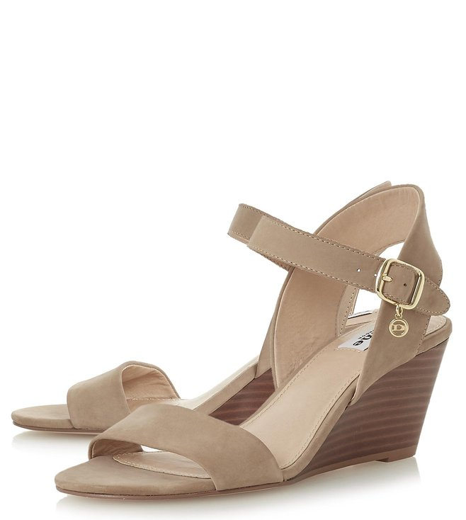 Dune London Taupe Nubuck Kendo Back Strap Wedges