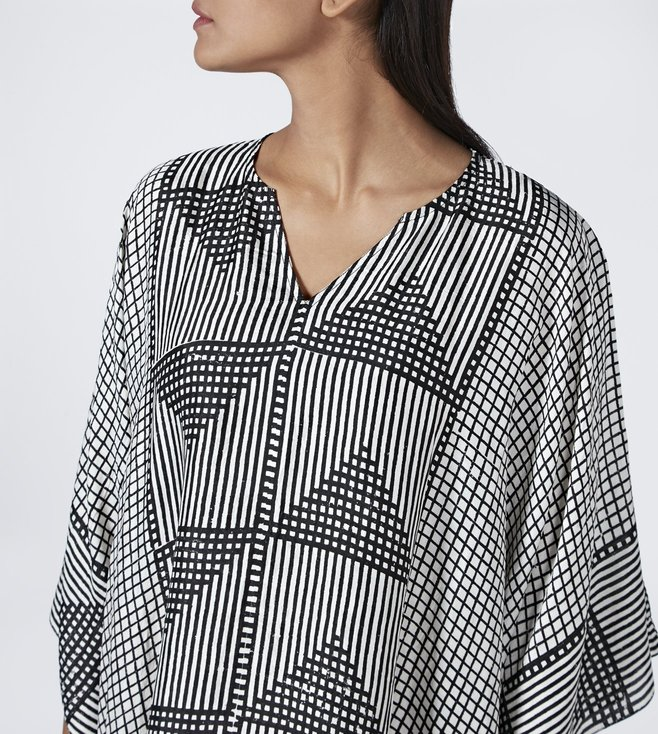 Aish Black & White Jim Kaftan Dress