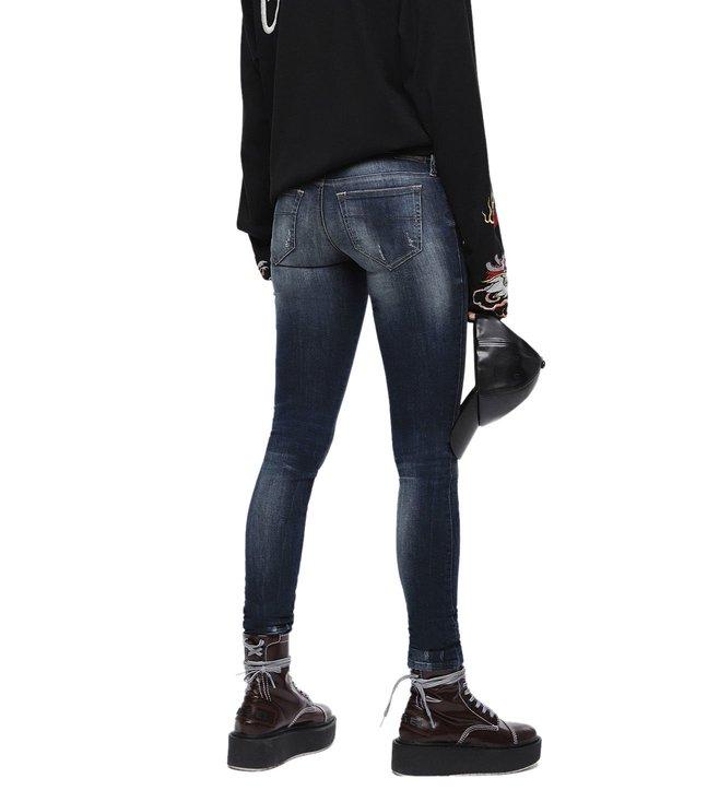 247bda67024 Diesel Tattered Blue Denim Skinzee-Low-S L.32 Pantaloni Skinny Fit Jeans