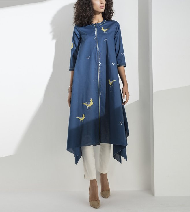 AM:PM Navy Embroidered Cotton Tunic Set