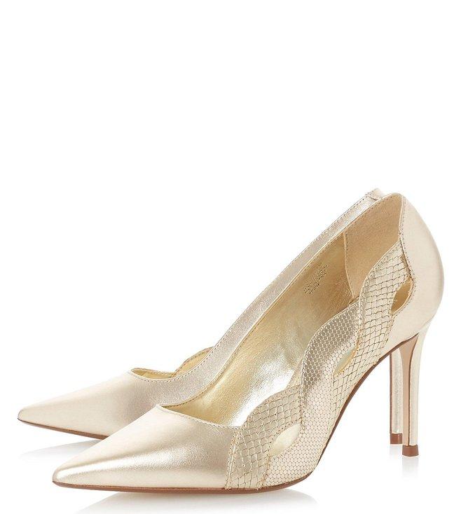 new product ea9db cb0ec Buy Dune London Gold Brylai Pumps for Women Online @ Tata ...