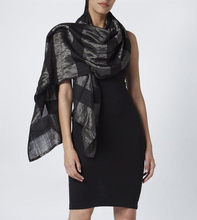 a3d0c2b0ae550 Buy Bodice Studio Black & Silver Striped Scarf for Women Online ...