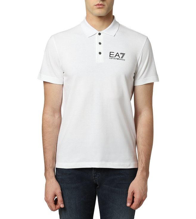 5098296ee Buy Emporio Armani White EA7 Signature Polo T-Shirt for Men Online ...