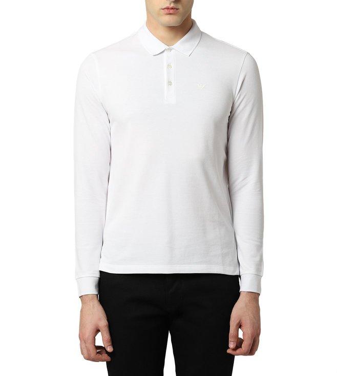 a4260066 Buy Emporio Armani Bianco Ottico Cotton Pique Polo T-Shirt for Men ...