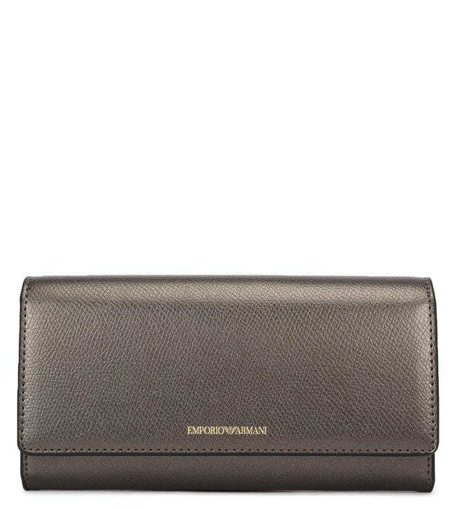 f362d8840a Buy Emporio Armani Acciaio & Nero Eco Leather Flap Wallet for Women ...