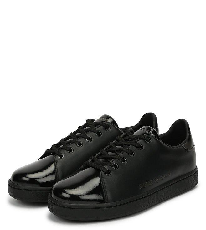 9bf7224b54b3 Emporio Armani. Emporio Armani Black Metallic Toe Cap Classic Women Sneakers  ...