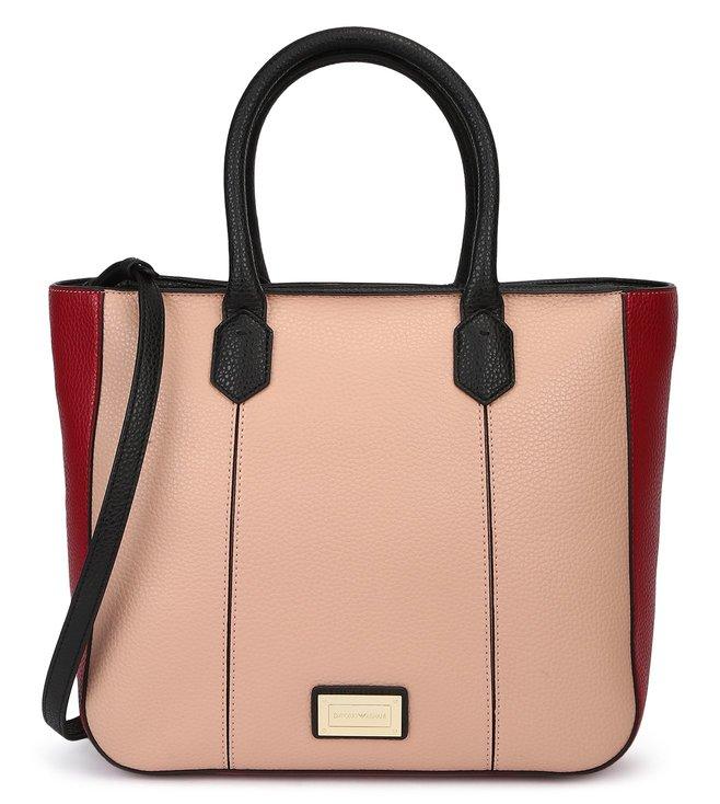 fdca064c3ed3 Added to Bag. Emporio Armani Rubino   Nero Metal Logo Soft Leather Tote