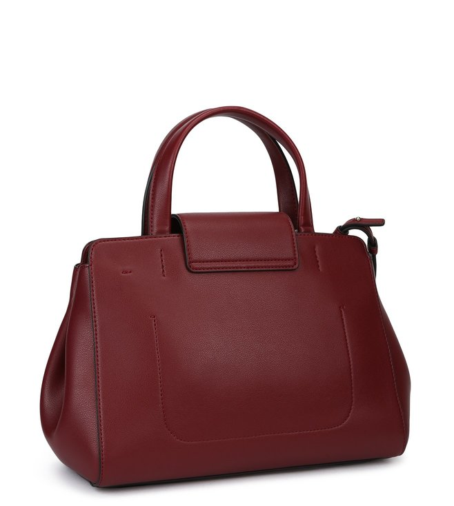 f83d7c1a9ddb Buy Emporio Armani Bordeaux Classic Logo Lock Satchel for Women Online    Tata CLiQ Luxury