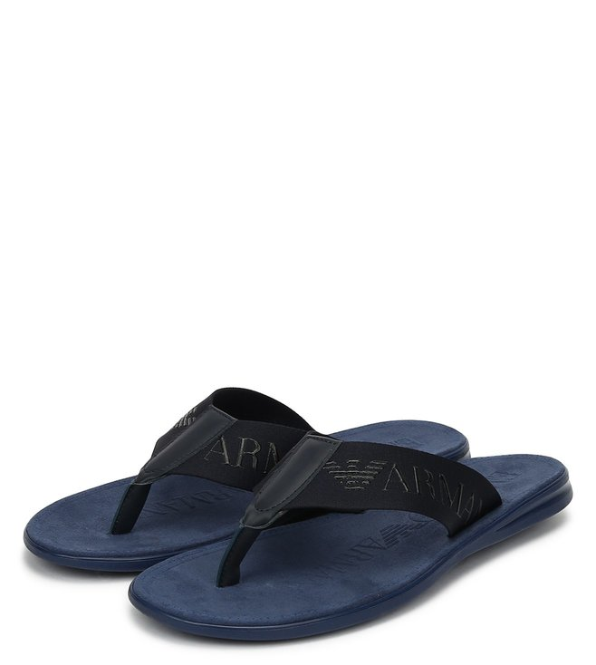Emporio Armani Night Tone On Tone Fabric Bands Flip Flops