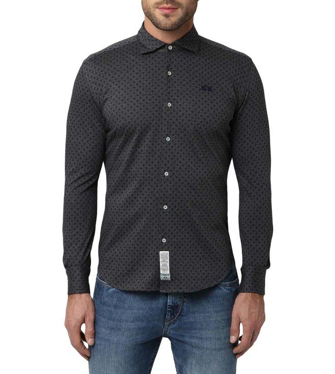 61d84593e3 Buy La Martina Dark Heather Grey   Navy Life Style Shirt for Men ...