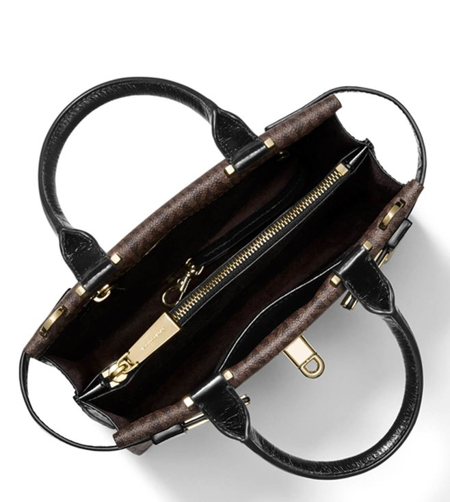 0584cf98ee20 Buy MICHAEL Michael Kors Brown   Black Tatiana Medium Satchel for ...