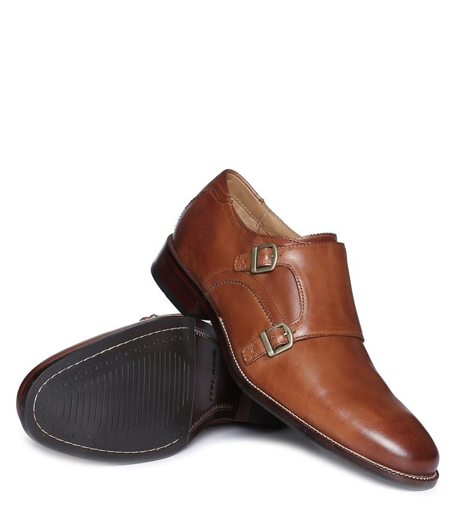 Cole Haan Tan Benton Monk Strap Shoes
